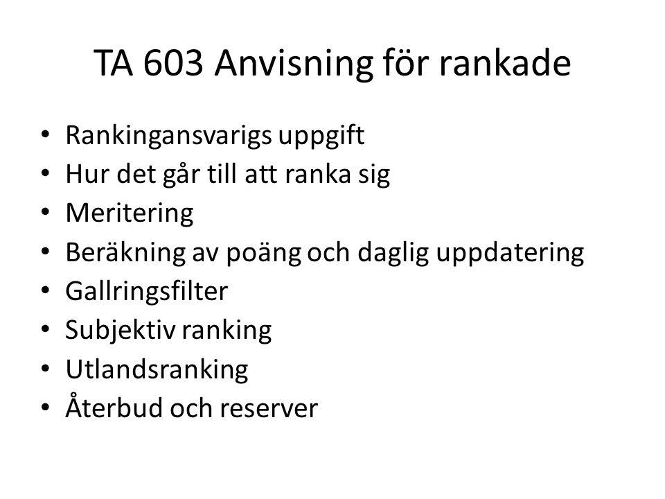 TA 603 Anvisning för rankade • Rankingansvarigs uppgift • Hur det går till att ranka sig • Meritering • Beräkning av poäng och daglig uppdatering • Ga