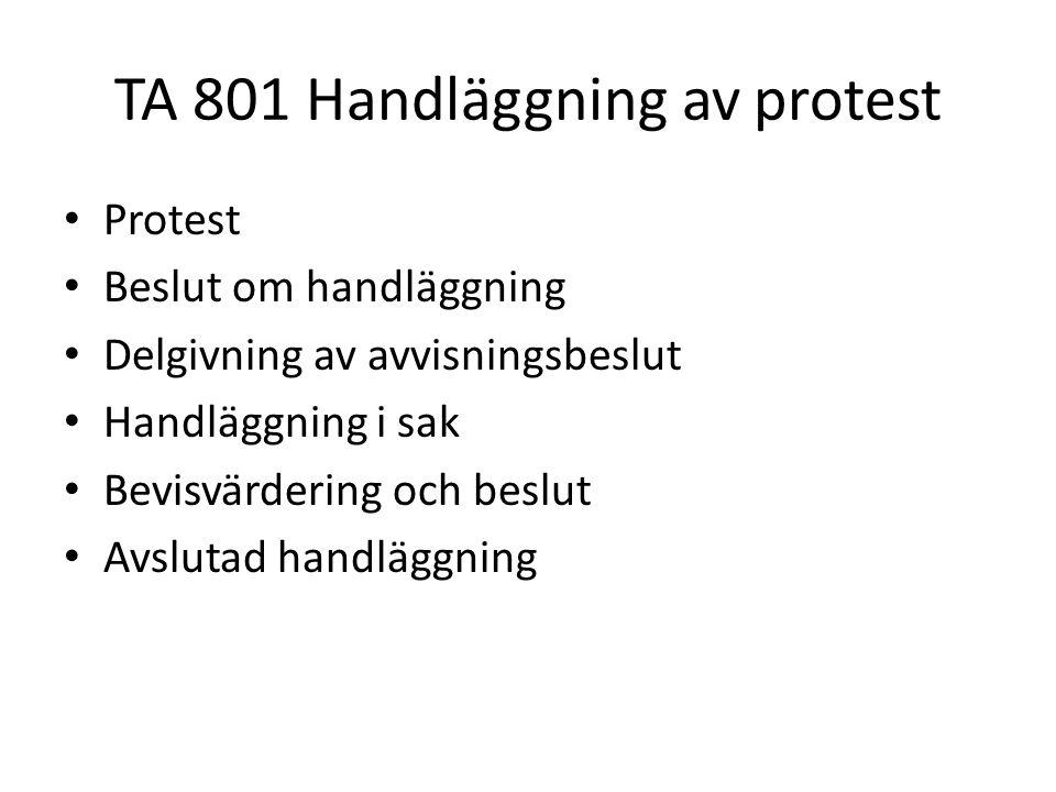 TA 801 Handläggning av protest • Protest • Beslut om handläggning • Delgivning av avvisningsbeslut • Handläggning i sak • Bevisvärdering och beslut •