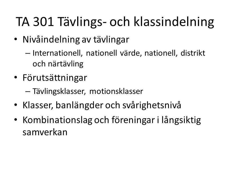 TA 301 Tävlings- och klassindelning • Nivåindelning av tävlingar – Internationell, nationell värde, nationell, distrikt och närtävling • Förutsättning