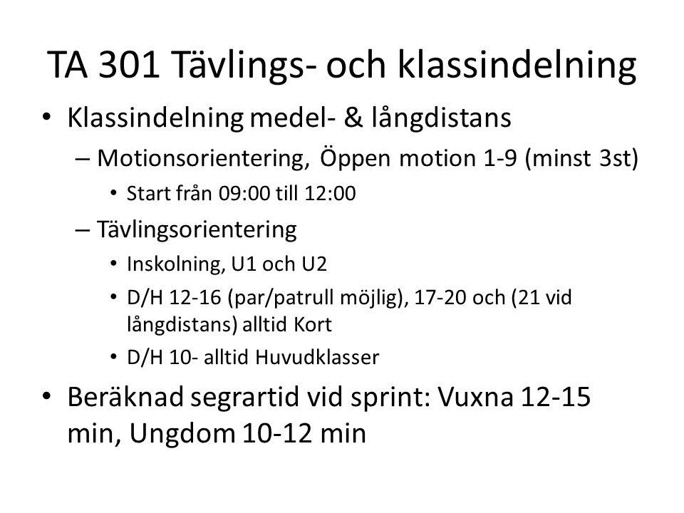 TA 301 Tävlings- och klassindelning • Klassindelning medel- & långdistans – Motionsorientering, Öppen motion 1-9 (minst 3st) • Start från 09:00 till 1