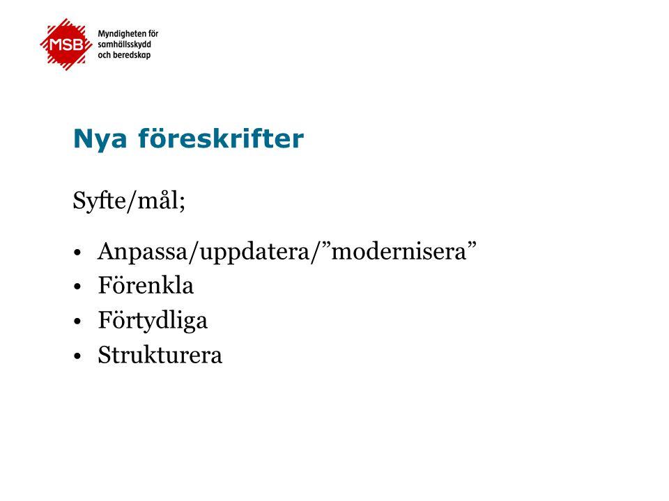 Nya föreskrifter Syfte/mål; •Anpassa/uppdatera/ modernisera •Förenkla •Förtydliga •Strukturera