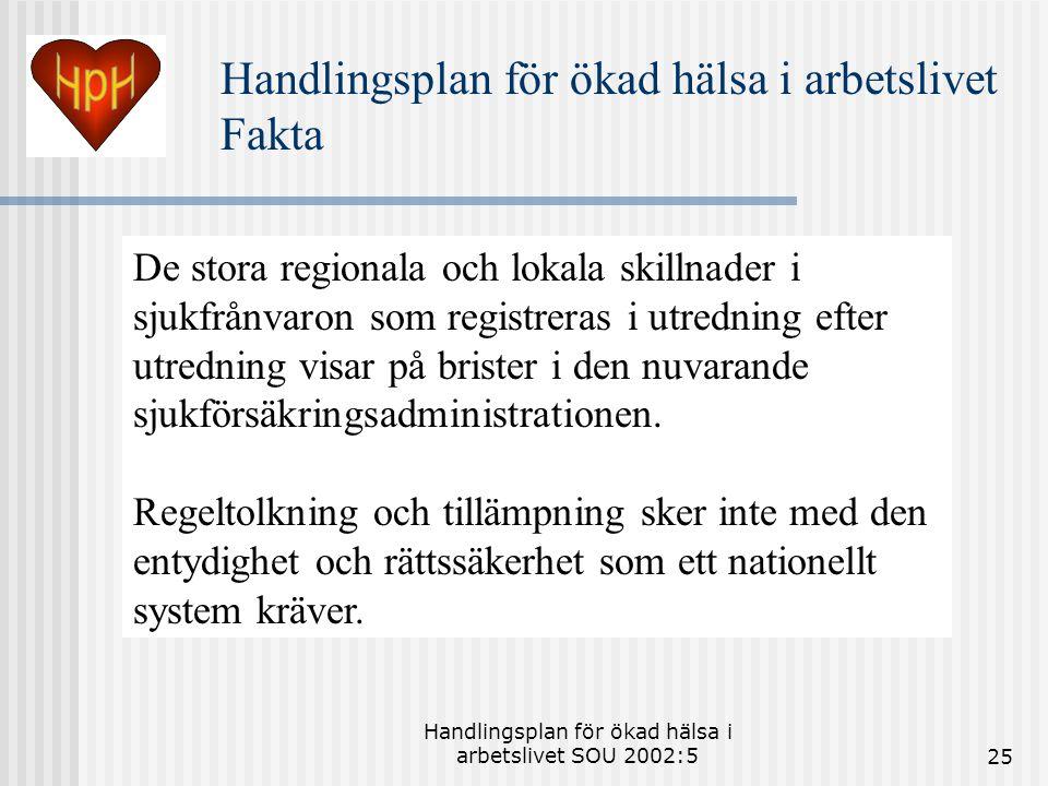 Handlingsplan för ökad hälsa i arbetslivet SOU 2002:525 De stora regionala och lokala skillnader i sjukfrånvaron som registreras i utredning efter utredning visar på brister i den nuvarande sjukförsäkringsadministrationen.