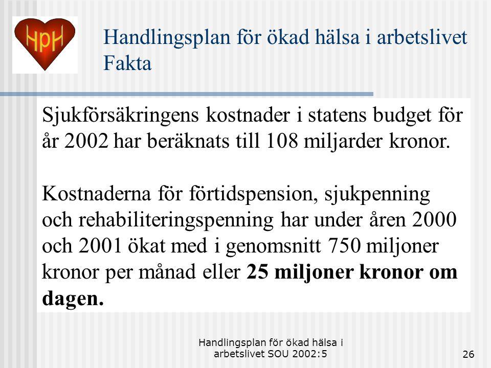 Handlingsplan för ökad hälsa i arbetslivet SOU 2002:526 Sjukförsäkringens kostnader i statens budget för år 2002 har beräknats till 108 miljarder kronor.