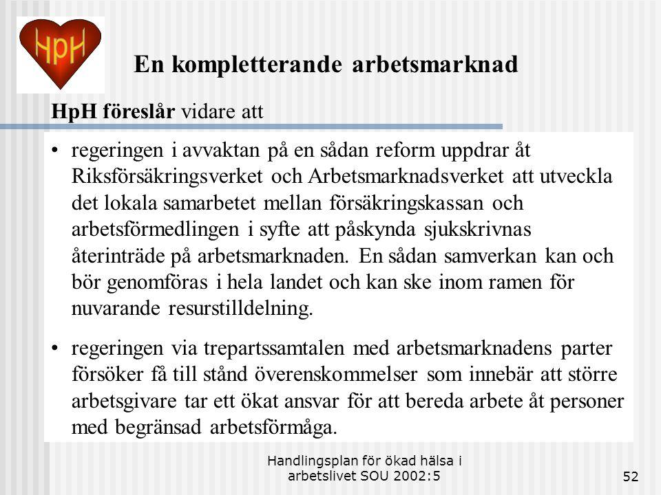 Handlingsplan för ökad hälsa i arbetslivet SOU 2002:552 •regeringen i avvaktan på en sådan reform uppdrar åt Riksförsäkringsverket och Arbetsmarknadsv