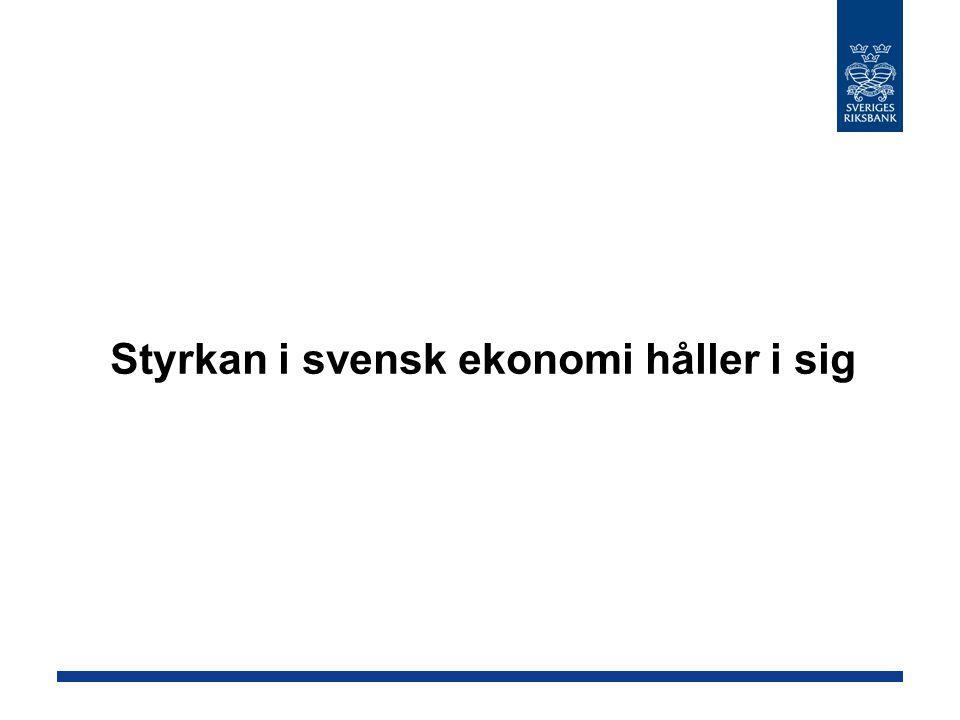 Fortsatt god tillväxt i Sverige Källor: SCB och RiksbankenBNP, kvartalsförändringar i procent uppräknat till årstakt, säsongsrensade data