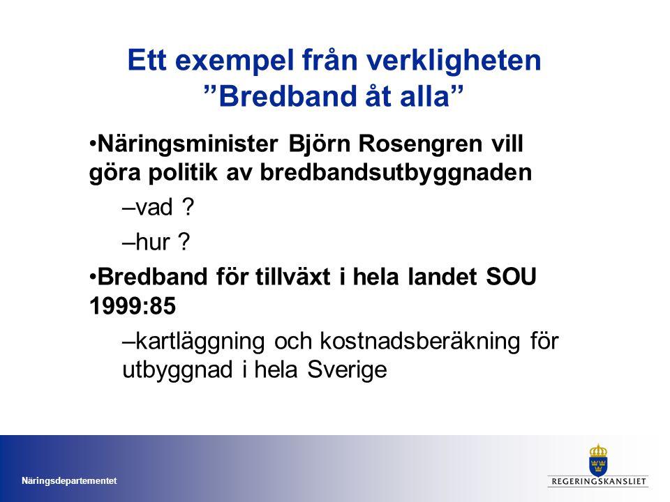 Näringsdepartementet Ett exempel från verkligheten Bredband åt alla •Näringsminister Björn Rosengren vill göra politik av bredbandsutbyggnaden –vad .