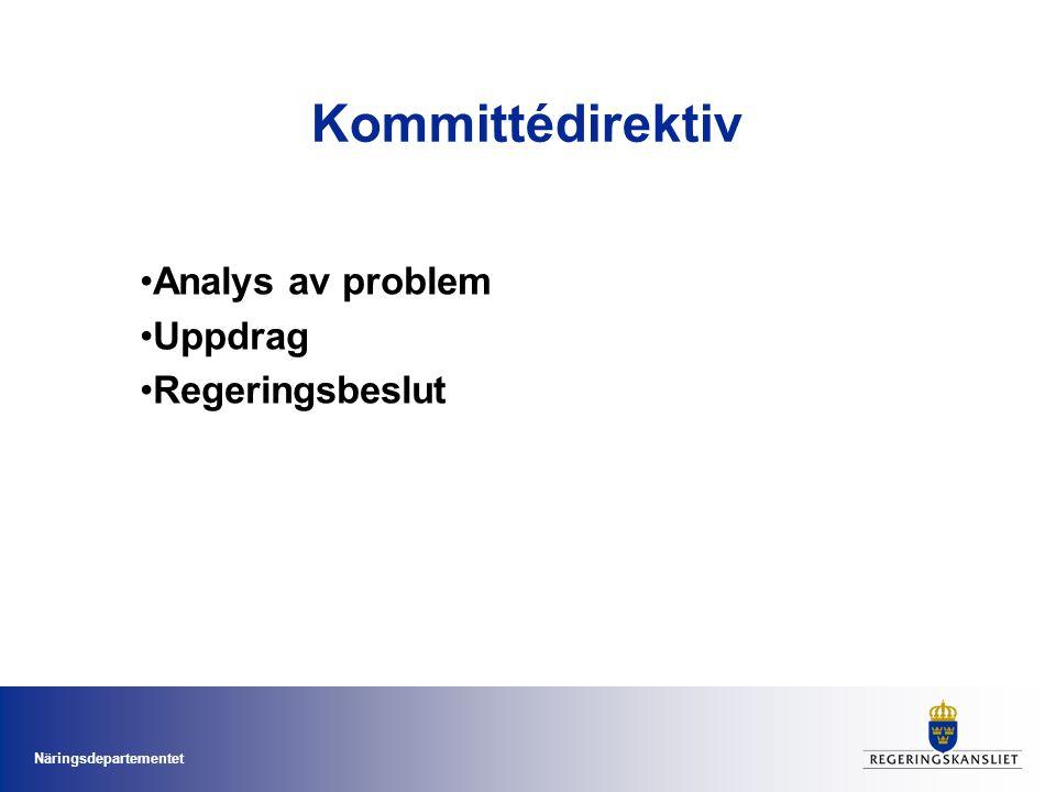 Näringsdepartementet Kommittédirektiv •Analys av problem •Uppdrag •Regeringsbeslut