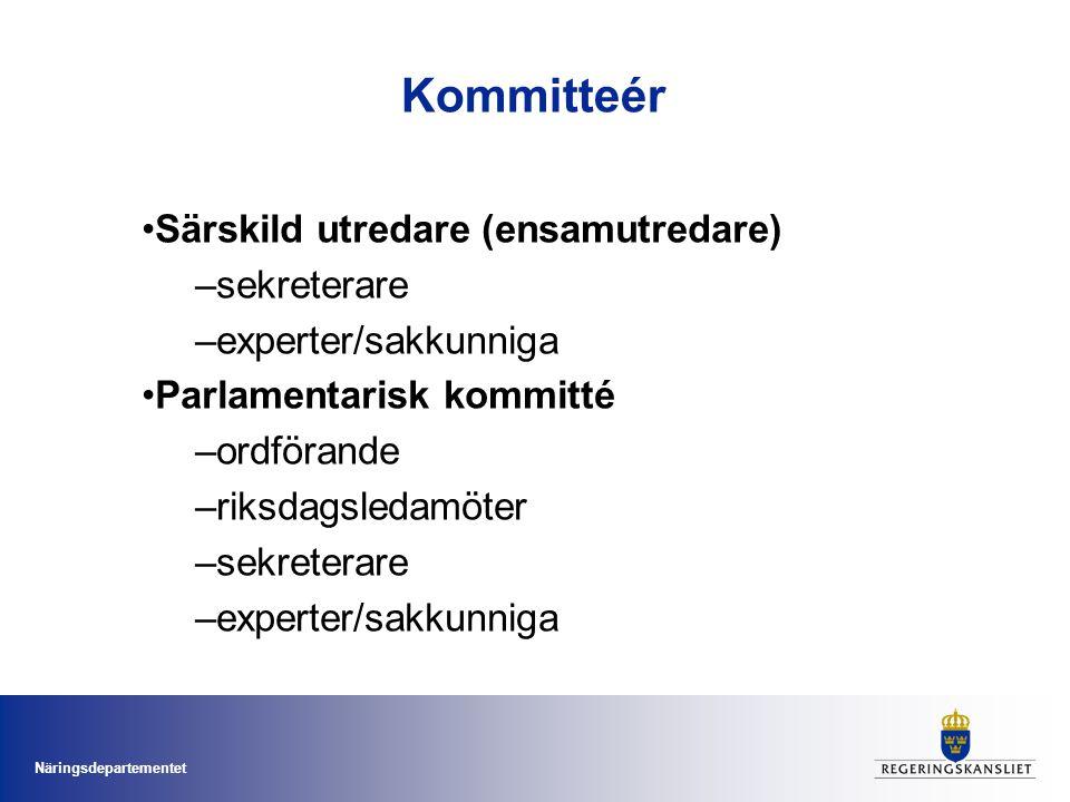 Näringsdepartementet Kommitteér •Särskild utredare (ensamutredare) –sekreterare –experter/sakkunniga •Parlamentarisk kommitté –ordförande –riksdagsledamöter –sekreterare –experter/sakkunniga