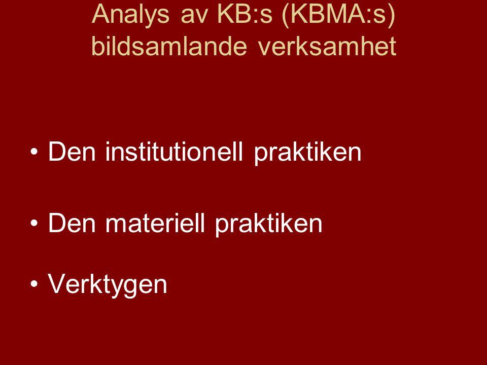 Analys av KB:s (KBMA:s) bildsamlande verksamhet •Den institutionell praktiken •Den materiell praktiken •Verktygen