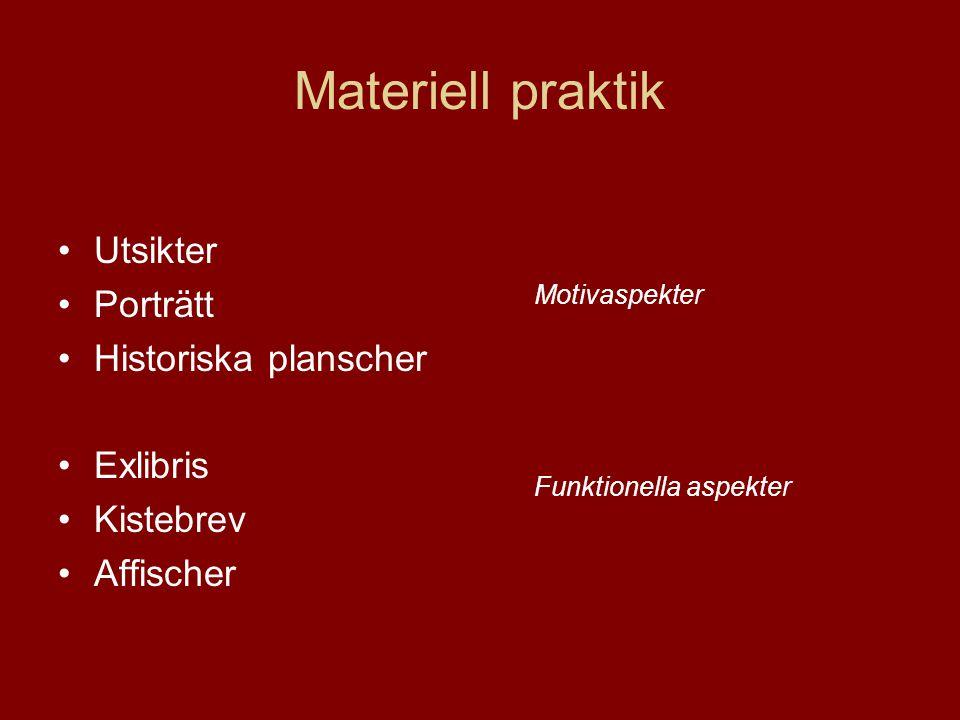 Materiell praktik •Utsikter •Porträtt •Historiska planscher •Exlibris •Kistebrev •Affischer Motivaspekter Funktionella aspekter
