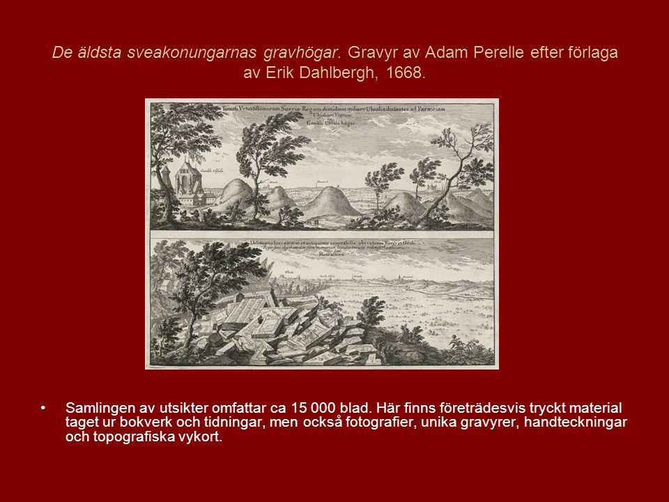 De äldsta sveakonungarnas gravhögar.Gravyr av Adam Perelle efter förlaga av Erik Dahlbergh, 1668.