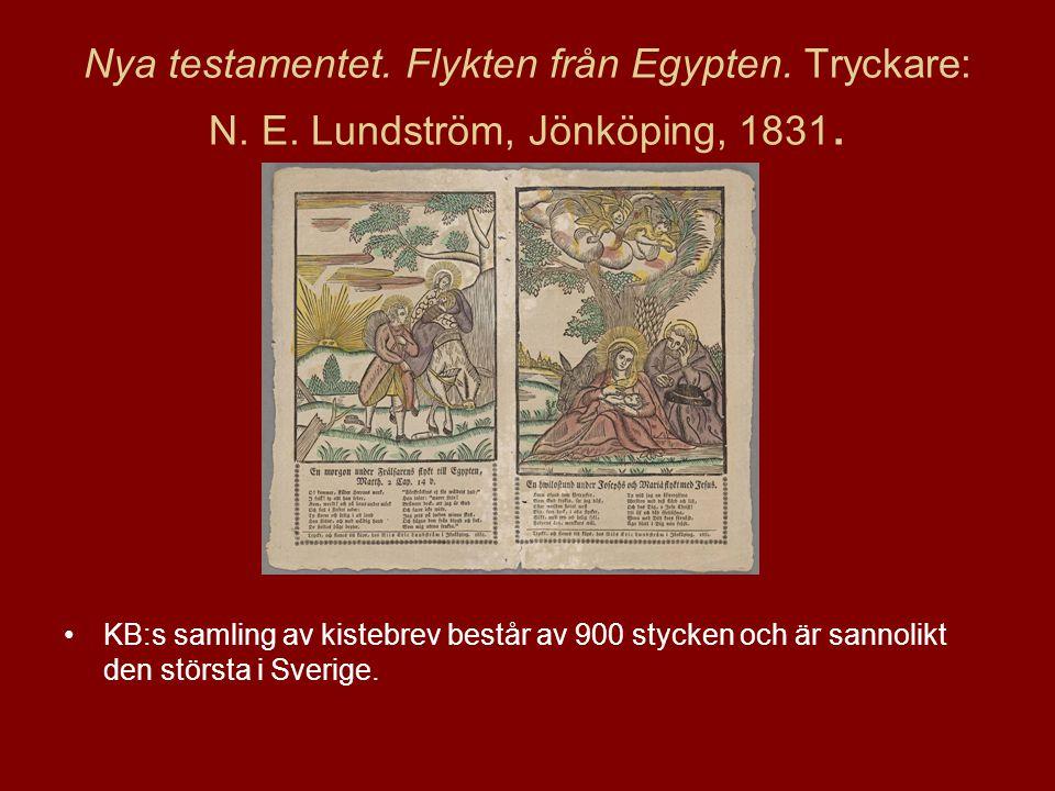Nya testamentet.Flykten från Egypten. Tryckare: N.