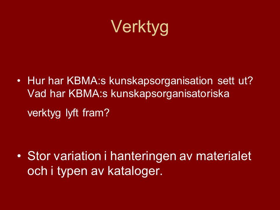Verktyg •Hur har KBMA:s kunskapsorganisation sett ut.