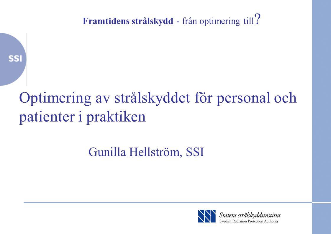 Framtidens strålskydd - från optimering till ? Optimering av strålskyddet för personal och patienter i praktiken Gunilla Hellström, SSI