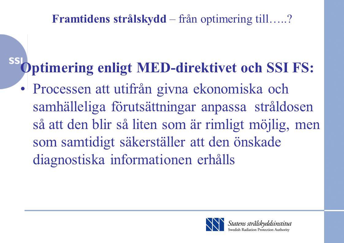 Framtidens strålskydd – från optimering till…..? Optimering enligt MED-direktivet och SSI FS: •Processen att utifrån givna ekonomiska och samhälleliga