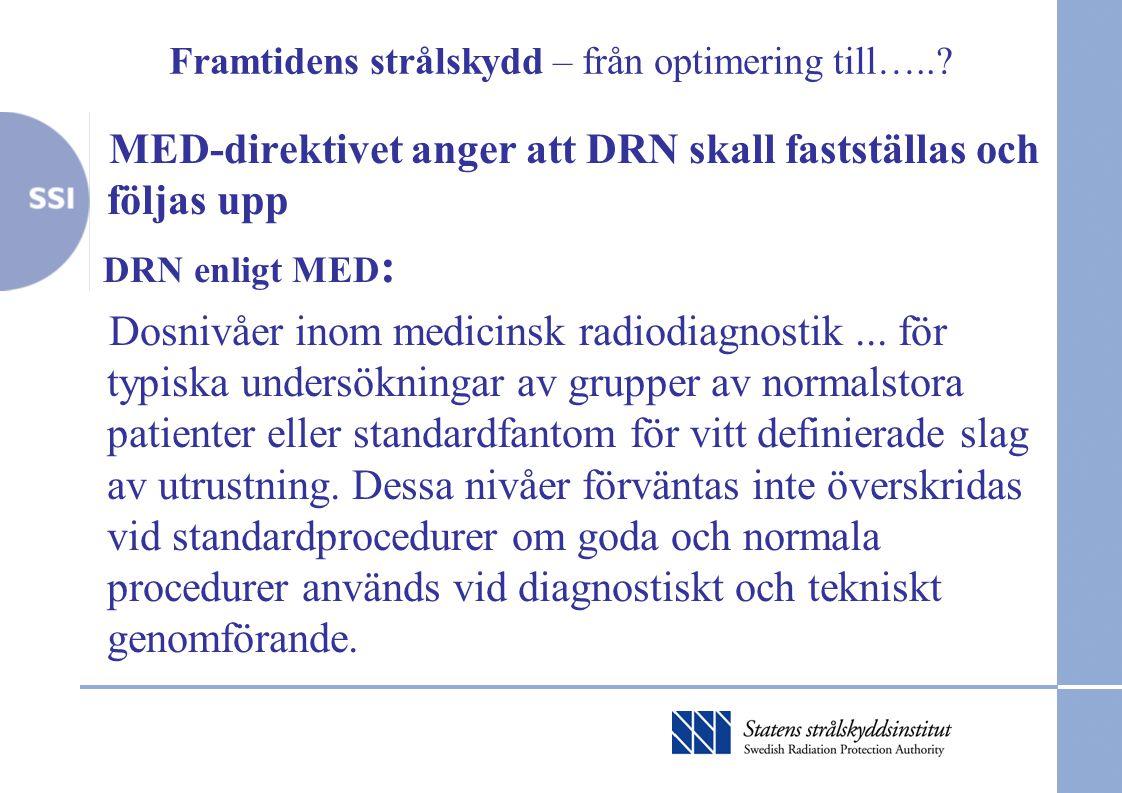 Framtidens strålskydd – från optimering till…..? MED-direktivet anger att DRN skall fastställas och följas upp DRN enligt MED : Dosnivåer inom medicin