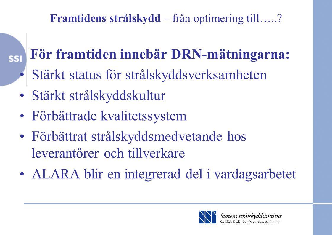 Framtidens strålskydd – från optimering till…..? För framtiden innebär DRN-mätningarna: •Stärkt status för strålskyddsverksamheten •Stärkt strålskydds