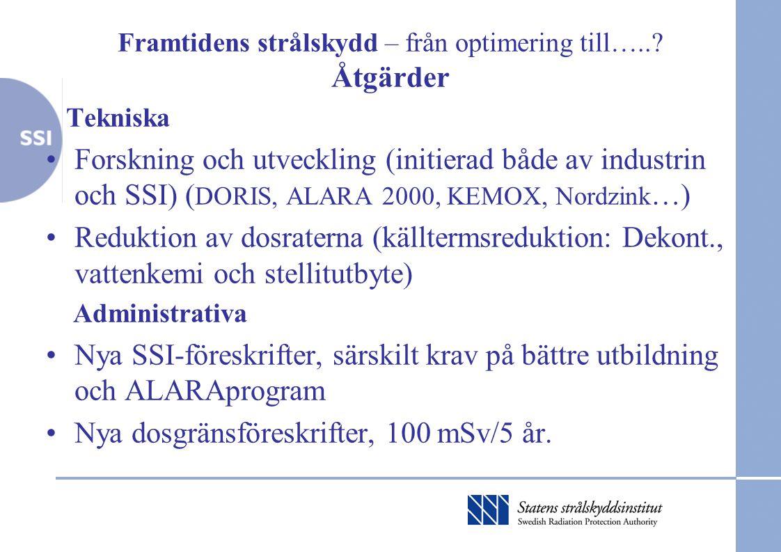 Framtidens strålskydd – från optimering till…..? Åtgärder Tekniska •Forskning och utveckling (initierad både av industrin och SSI) ( DORIS, ALARA 2000