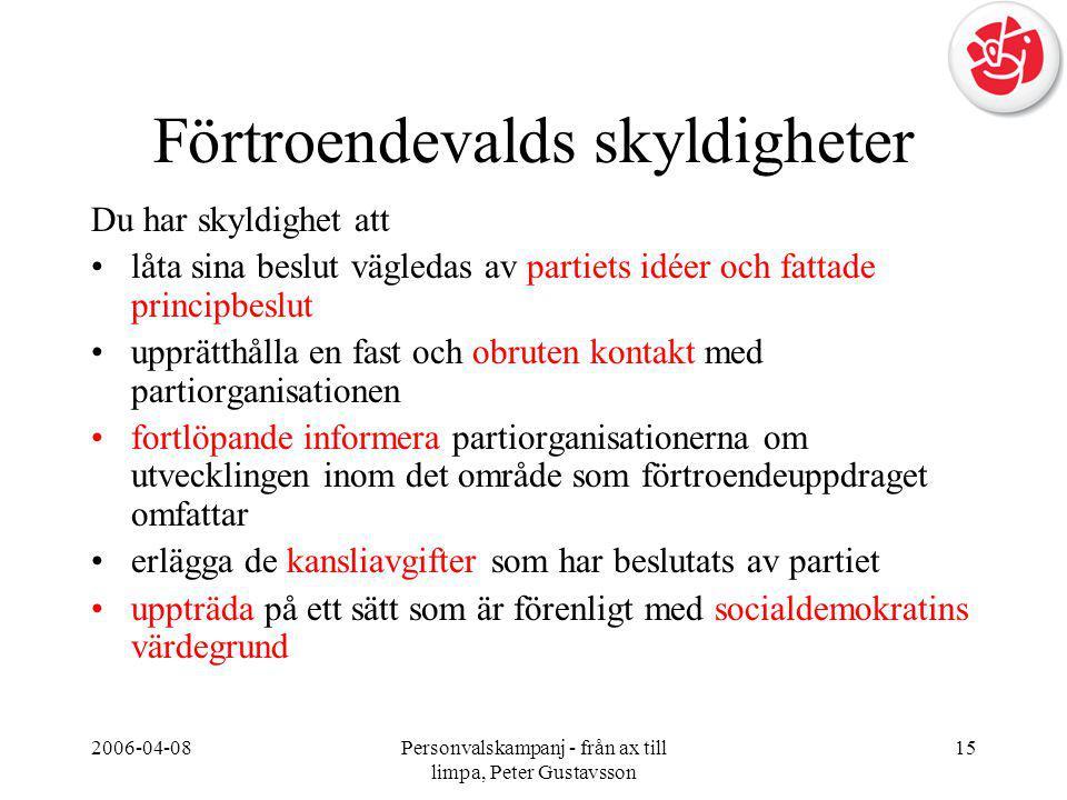 2006-04-08Personvalskampanj - från ax till limpa, Peter Gustavsson 15 Förtroendevalds skyldigheter Du har skyldighet att •låta sina beslut vägledas av