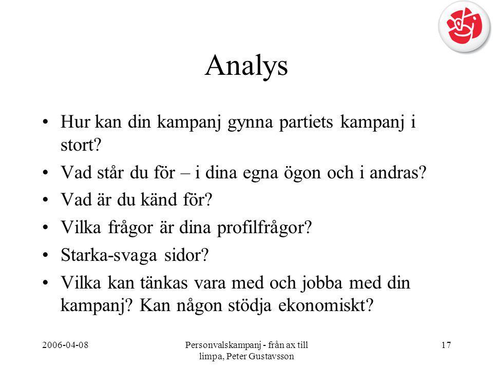 2006-04-08Personvalskampanj - från ax till limpa, Peter Gustavsson 17 Analys •Hur kan din kampanj gynna partiets kampanj i stort? •Vad står du för – i