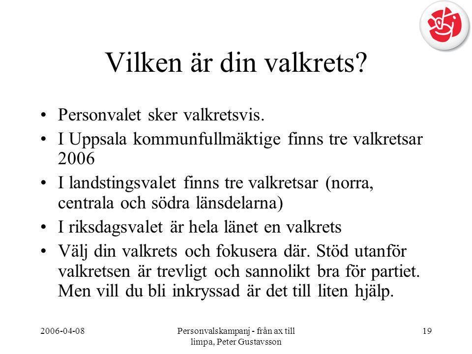 2006-04-08Personvalskampanj - från ax till limpa, Peter Gustavsson 19 Vilken är din valkrets? •Personvalet sker valkretsvis. •I Uppsala kommunfullmäkt