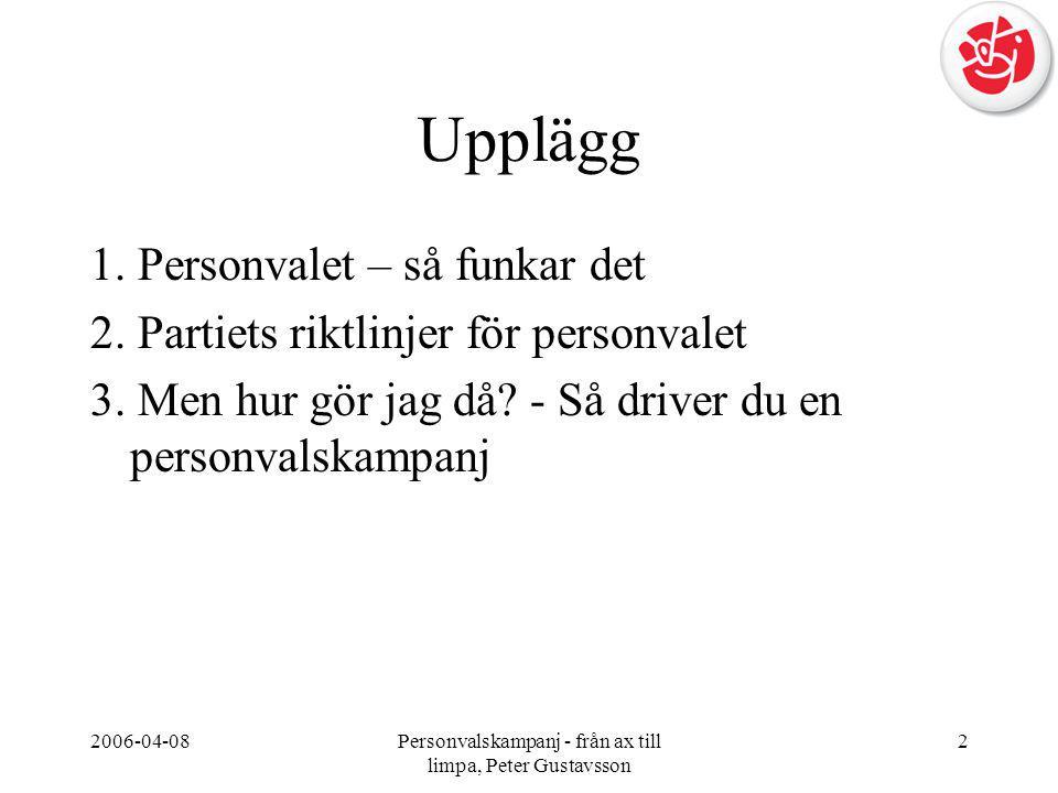 2006-04-08Personvalskampanj - från ax till limpa, Peter Gustavsson 2 Upplägg 1. Personvalet – så funkar det 2. Partiets riktlinjer för personvalet 3.