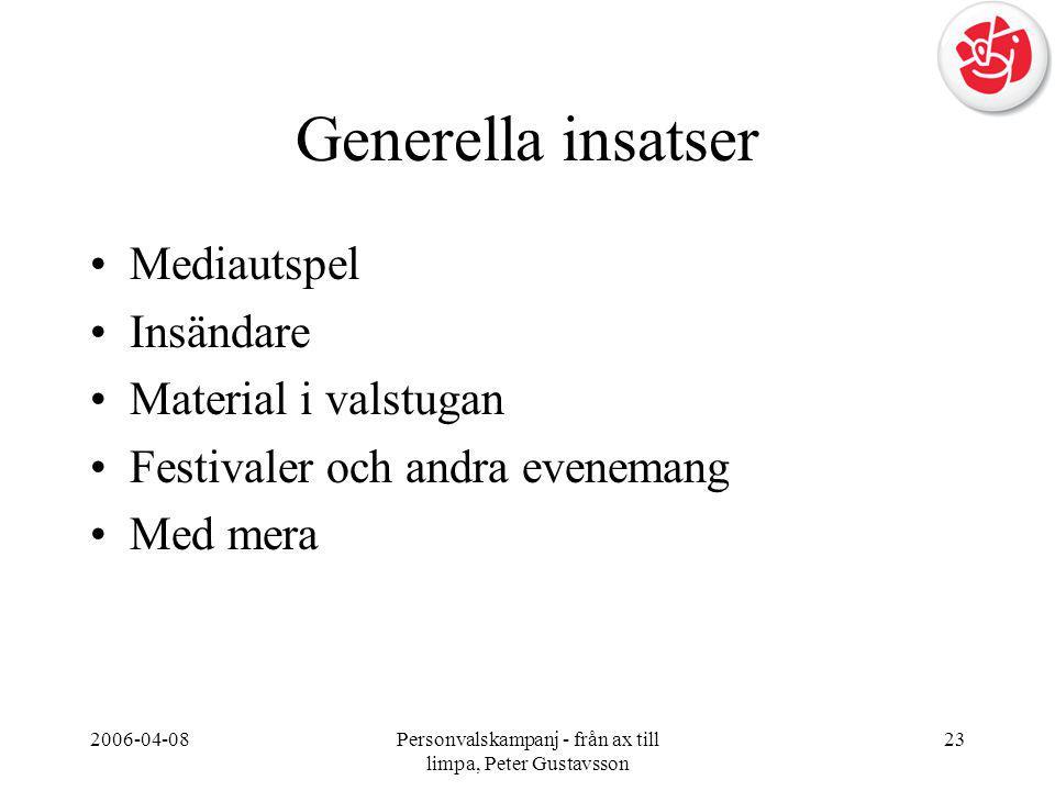 2006-04-08Personvalskampanj - från ax till limpa, Peter Gustavsson 23 Generella insatser •Mediautspel •Insändare •Material i valstugan •Festivaler och