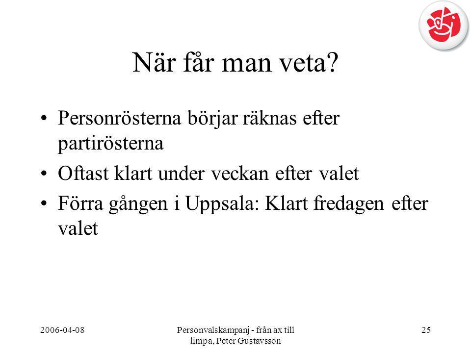 2006-04-08Personvalskampanj - från ax till limpa, Peter Gustavsson 25 När får man veta? •Personrösterna börjar räknas efter partirösterna •Oftast klar