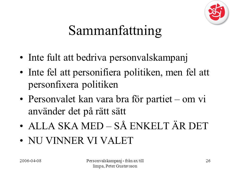 2006-04-08Personvalskampanj - från ax till limpa, Peter Gustavsson 26 Sammanfattning •Inte fult att bedriva personvalskampanj •Inte fel att personifie