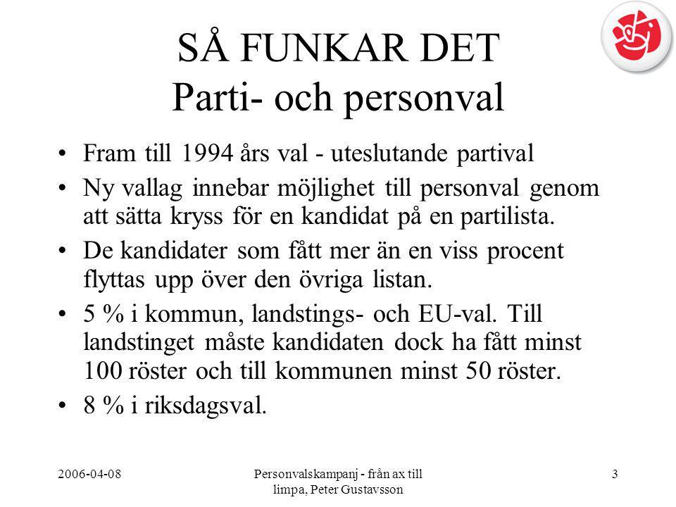 2006-04-08Personvalskampanj - från ax till limpa, Peter Gustavsson 3 SÅ FUNKAR DET Parti- och personval •Fram till 1994 års val - uteslutande partival