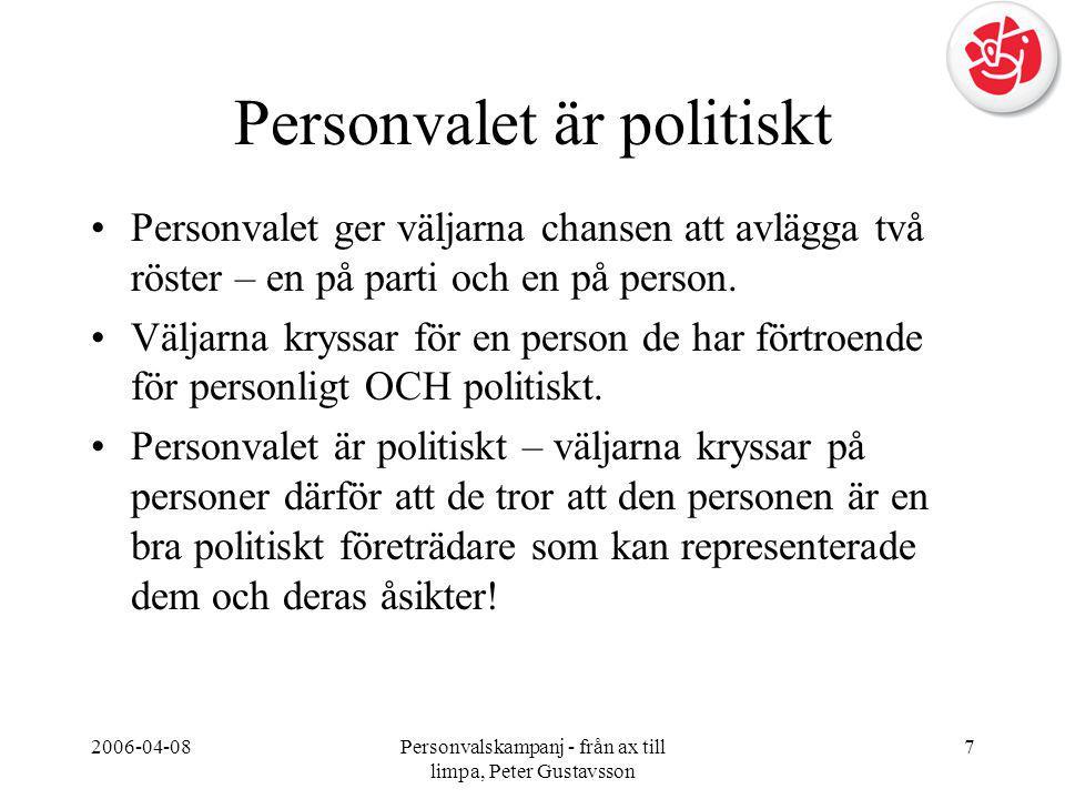 2006-04-08Personvalskampanj - från ax till limpa, Peter Gustavsson 7 Personvalet är politiskt •Personvalet ger väljarna chansen att avlägga två röster