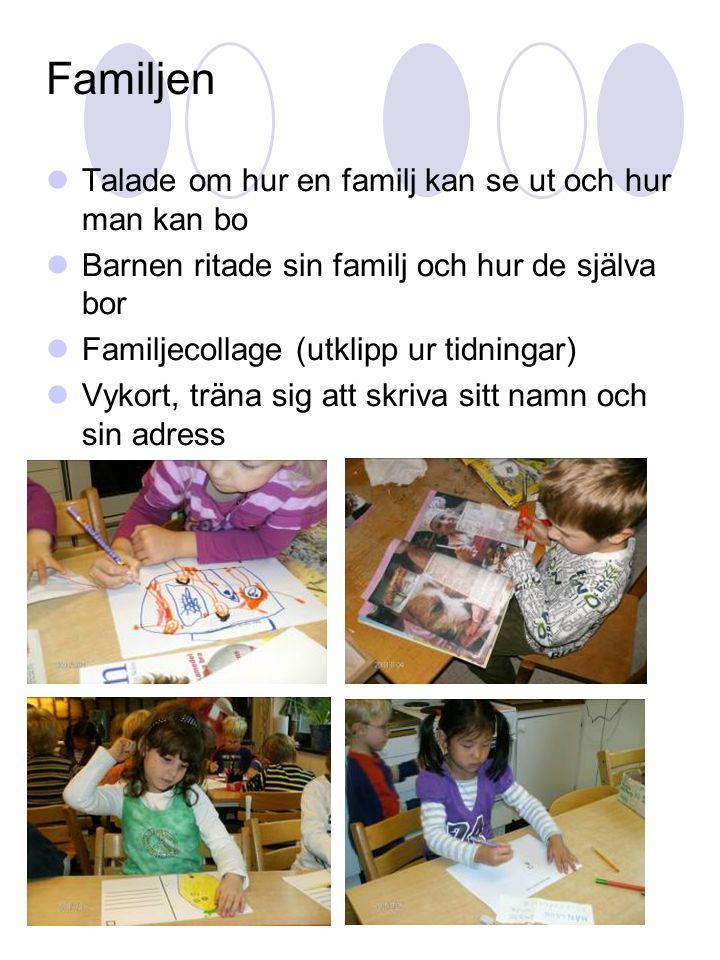 Familjen  Talade om hur en familj kan se ut och hur man kan bo  Barnen ritade sin familj och hur de själva bor  Familjecollage (utklipp ur tidninga