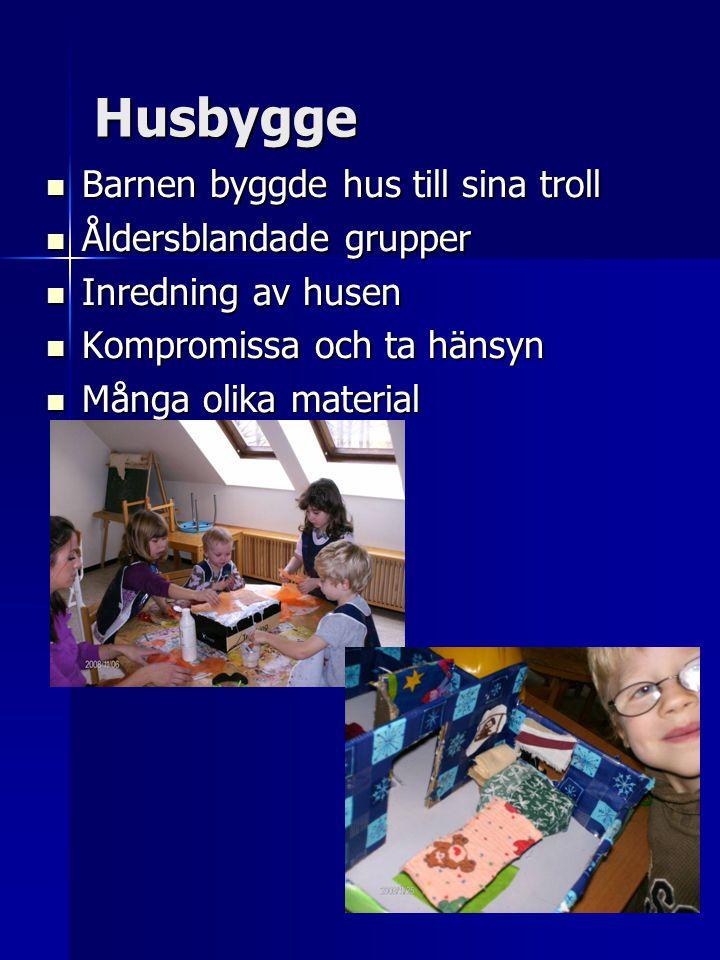 Husbygge  Barnen byggde hus till sina troll  Åldersblandade grupper  Inredning av husen  Kompromissa och ta hänsyn  Många olika material