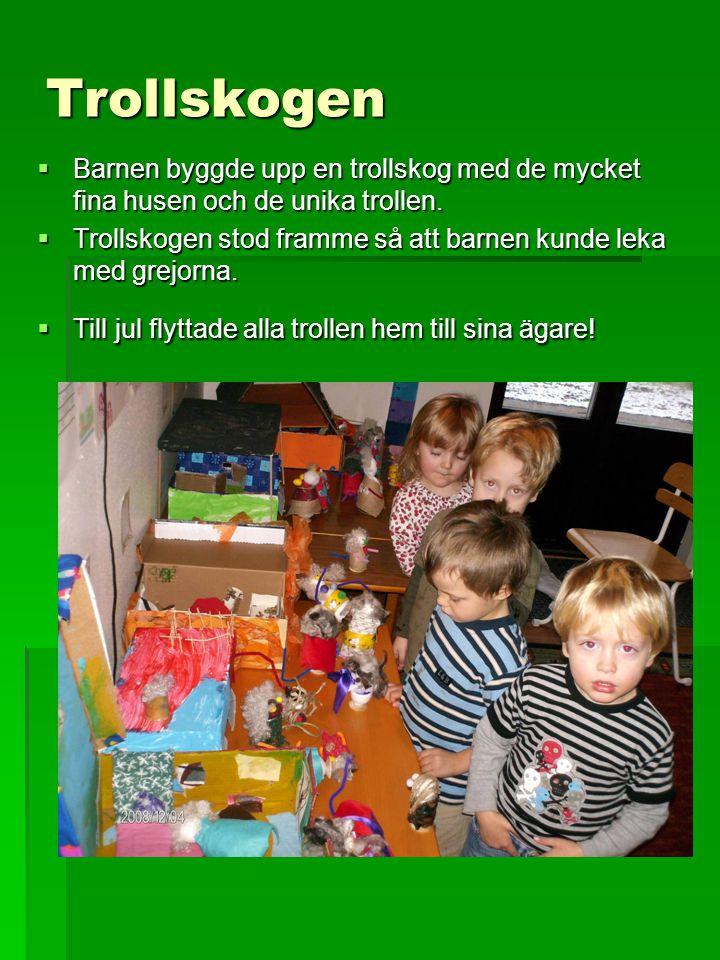 Trollskogen  Barnen byggde upp en trollskog med de mycket fina husen och de unika trollen.  Trollskogen stod framme så att barnen kunde leka med gre