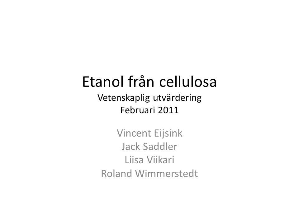 Etanol från cellulosa Vetenskaplig utvärdering Februari 2011 Vincent Eijsink Jack Saddler Liisa Viikari Roland Wimmerstedt