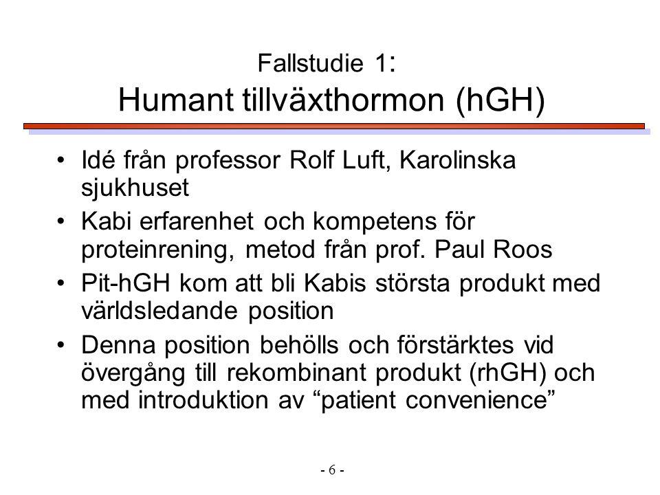 •Idé från professor Rolf Luft, Karolinska sjukhuset •Kabi erfarenhet och kompetens för proteinrening, metod från prof.