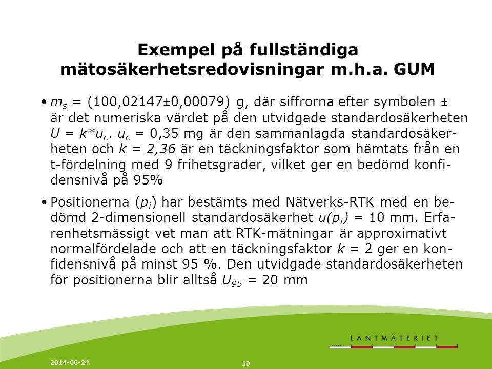 2014-06-24 10 Exempel på fullständiga mätosäkerhetsredovisningar m.h.a.