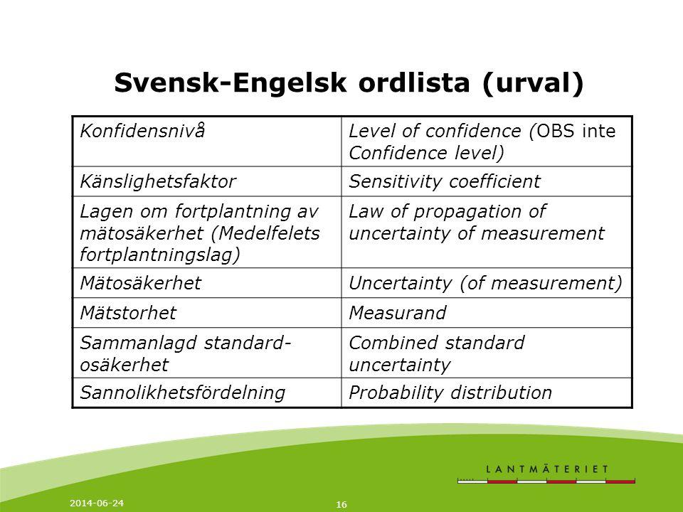 2014-06-24 16 Svensk-Engelsk ordlista (urval) KonfidensnivåLevel of confidence (OBS inte Confidence level) KänslighetsfaktorSensitivity coefficient La