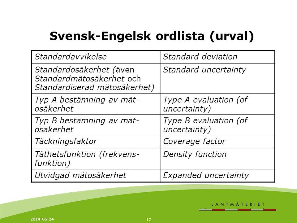 2014-06-24 17 Svensk-Engelsk ordlista (urval) StandardavvikelseStandard deviation Standardosäkerhet (även Standardmätosäkerhet och Standardiserad mätosäkerhet) Standard uncertainty Typ A bestämning av mät- osäkerhet Type A evaluation (of uncertainty) Typ B bestämning av mät- osäkerhet Type B evaluation (of uncertainty) TäckningsfaktorCoverage factor Täthetsfunktion (frekvens- funktion) Density function Utvidgad mätosäkerhetExpanded uncertainty