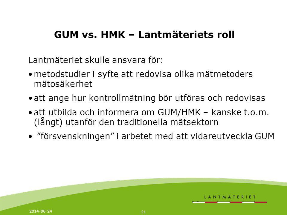 2014-06-24 21 GUM vs. HMK – Lantmäteriets roll Lantmäteriet skulle ansvara för: •metodstudier i syfte att redovisa olika mätmetoders mätosäkerhet •att