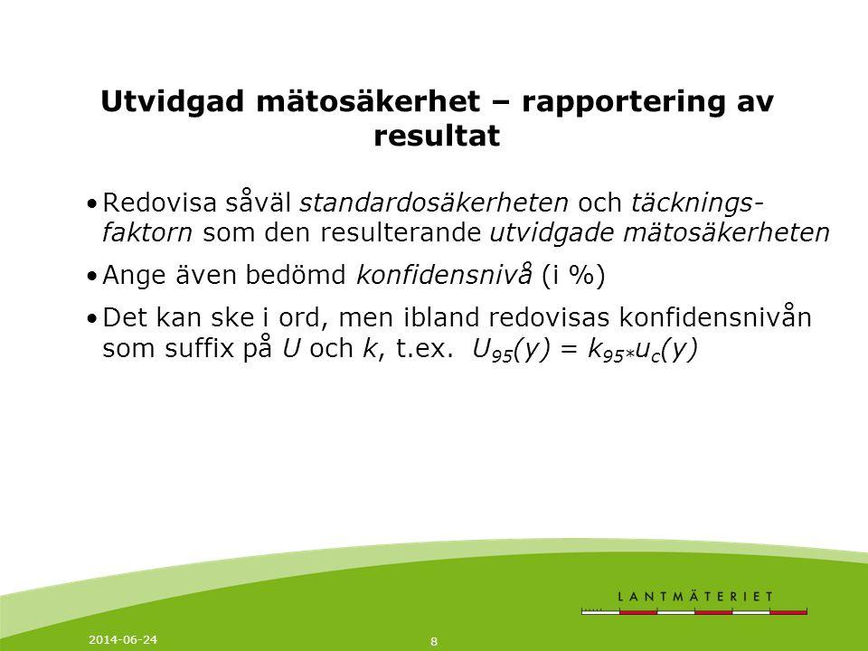 2014-06-24 8 Utvidgad mätosäkerhet – rapportering av resultat •Redovisa såväl standardosäkerheten och täcknings- faktorn som den resulterande utvidgad