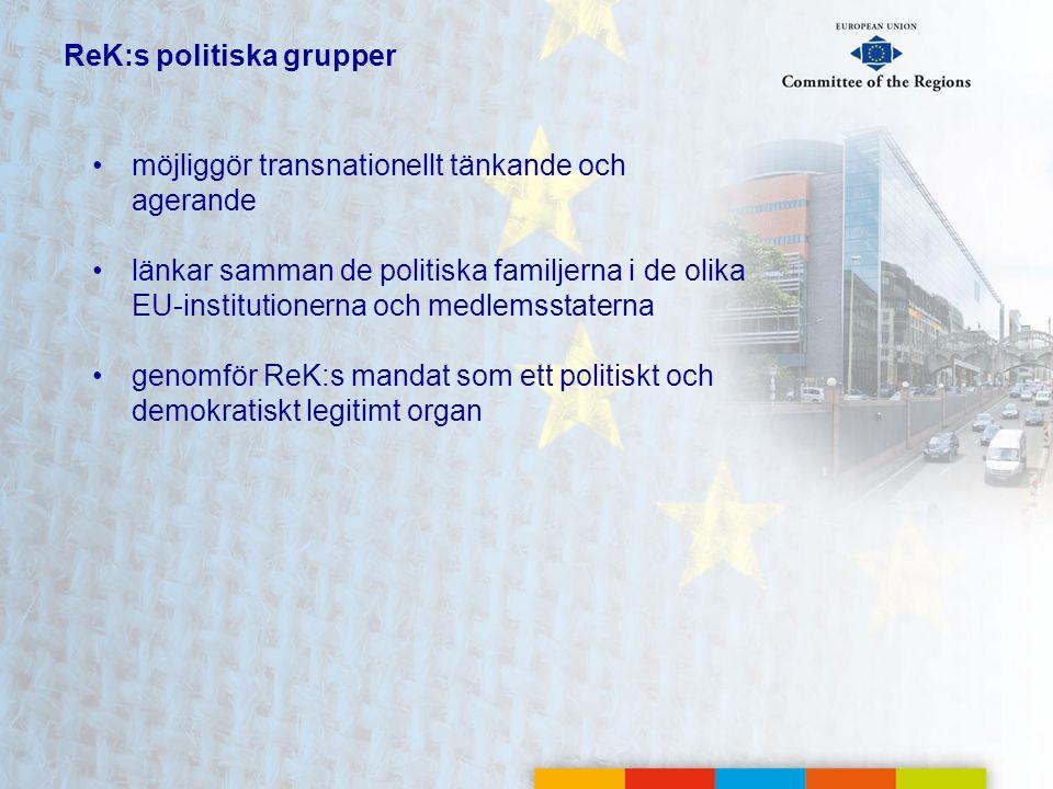 ReK:s politiska grupper •möjliggör transnationellt tänkande och agerande •länkar samman de politiska familjerna i de olika EU-institutionerna och medl