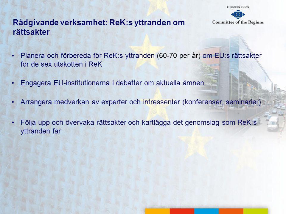 Rådgivande verksamhet: ReK:s yttranden om rättsakter •Planera och förbereda för ReK:s yttranden (60-70 per år) om EU:s rättsakter för de sex utskotten