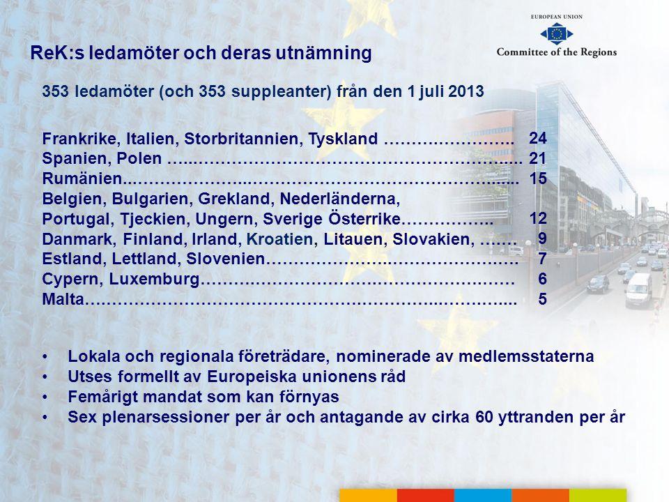 ReK:s ledamöter och deras utnämning 353 ledamöter (och 353 suppleanter) från den 1 juli 2013 Frankrike, Italien, Storbritannien, Tyskland ……….………….. S