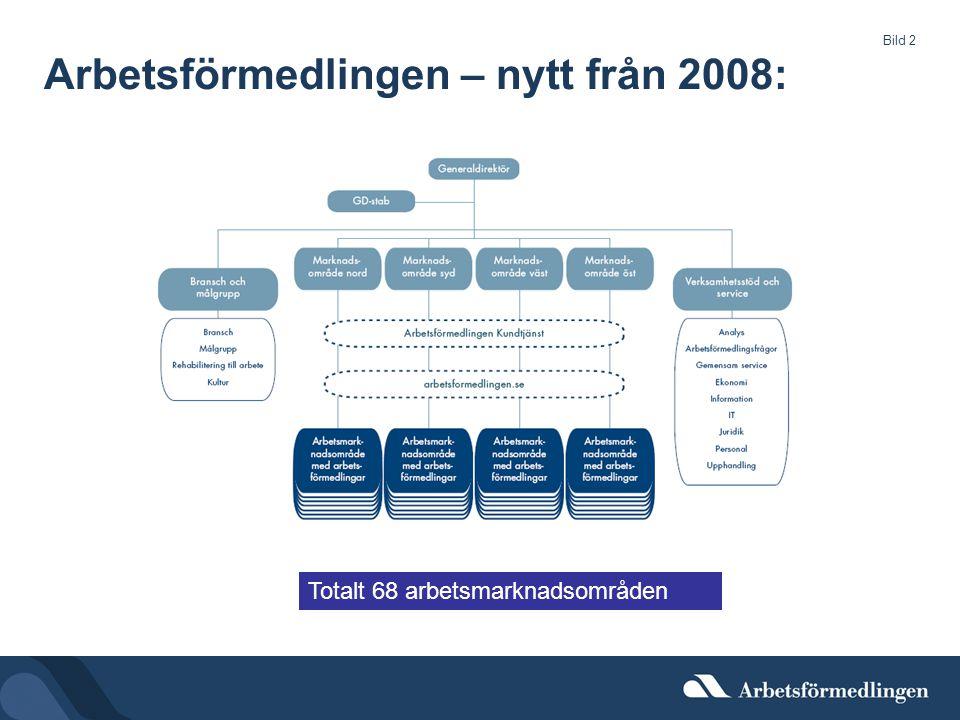 Bild 2 Arbetsförmedlingen – nytt från 2008: Totalt 68 arbetsmarknadsområden