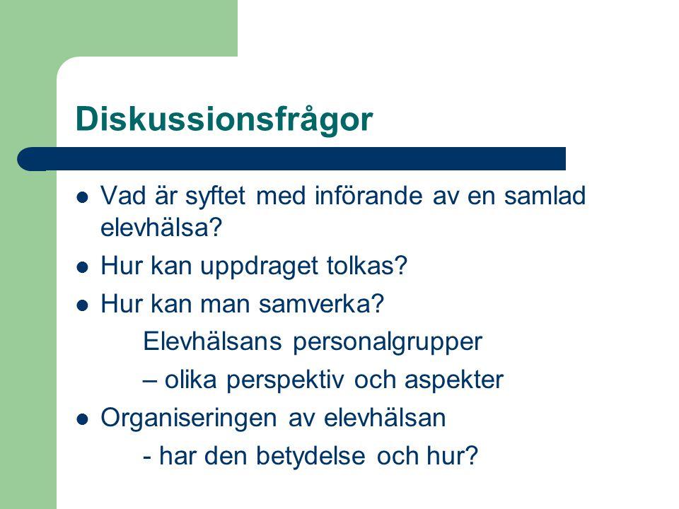 Diskussionsfrågor  Vad är syftet med införande av en samlad elevhälsa?  Hur kan uppdraget tolkas?  Hur kan man samverka? Elevhälsans personalgruppe