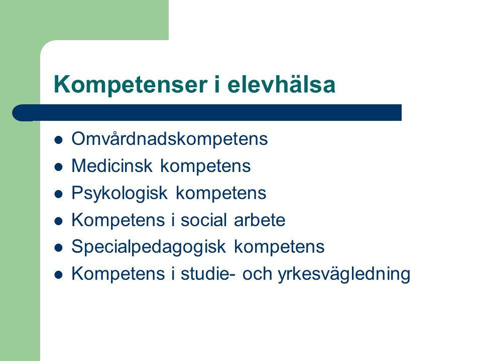 Kompetenser i elevhälsa  Omvårdnadskompetens  Medicinsk kompetens  Psykologisk kompetens  Kompetens i social arbete  Specialpedagogisk kompetens