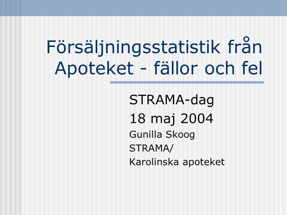 Försäljningsstatistik från Apoteket - fällor och fel STRAMA-dag 18 maj 2004 Gunilla Skoog STRAMA/ Karolinska apoteket