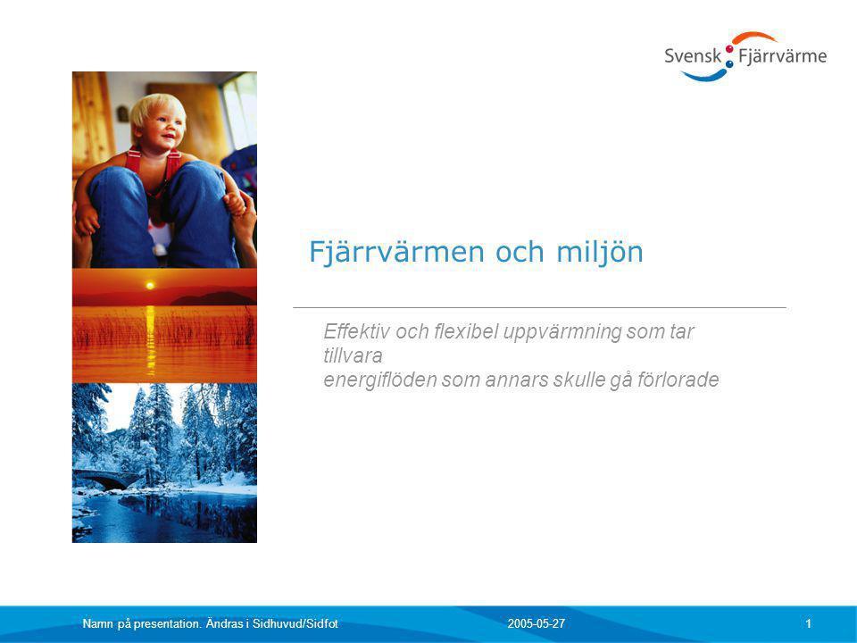 2005-05-27 Namn på presentation. Ändras i Sidhuvud/Sidfot 1 Effektiv och flexibel uppvärmning som tar tillvara energiflöden som annars skulle gå förlo