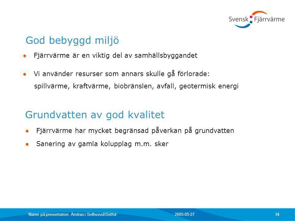 2005-05-27 Namn på presentation. Ändras i Sidhuvud/Sidfot 14 Grundvatten av god kvalitet ● Fjärrvärme har mycket begränsad påverkan på grundvatten ● S